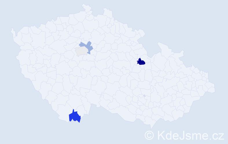 Příjmení: 'Kartal', počet výskytů 5 v celé ČR