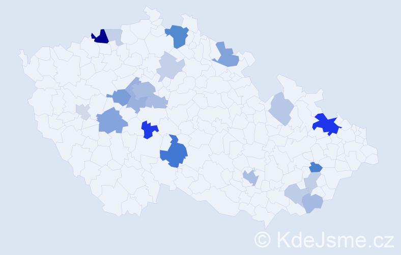 Příjmení: 'Dietrichová', počet výskytů 55 v celé ČR