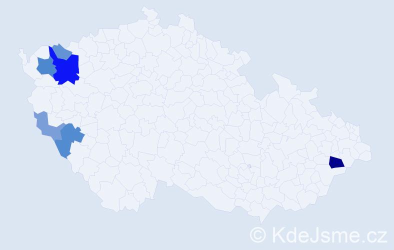 Příjmení: 'Godža', počet výskytů 15 v celé ČR