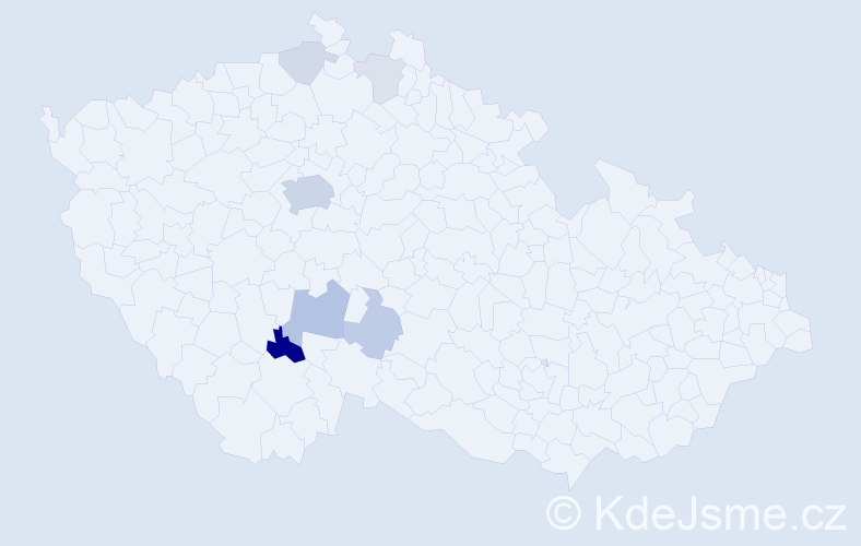 Příjmení: 'Dobal', počet výskytů 19 v celé ČR