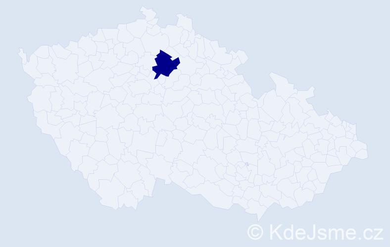 """Příjmení: '""""De Crignisová""""', počet výskytů 4 v celé ČR"""