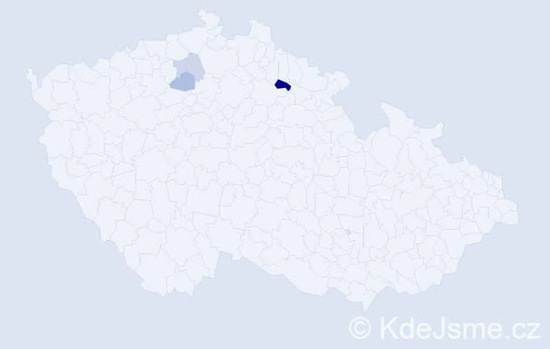 Příjmení: 'Čoričová', počet výskytů 5 v celé ČR