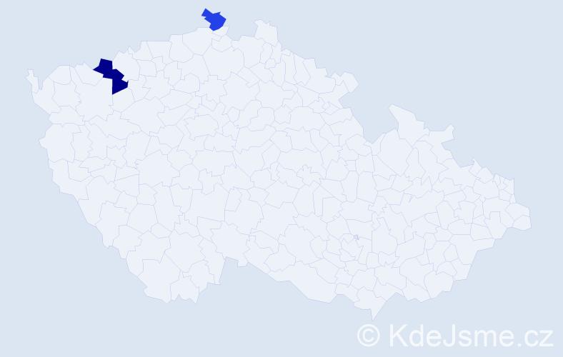 Příjmení: 'Bretzková', počet výskytů 3 v celé ČR