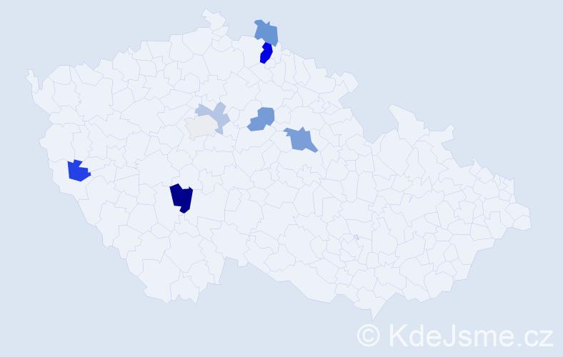 Příjmení: 'Jaciková', počet výskytů 15 v celé ČR