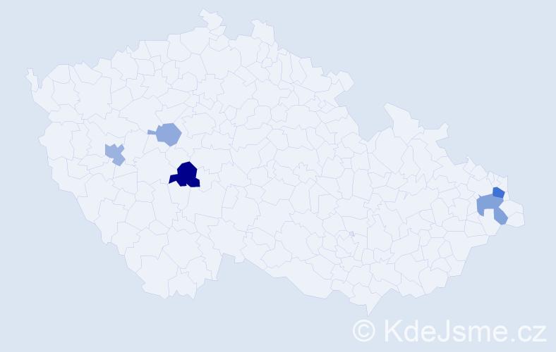 Příjmení: 'Gladičová', počet výskytů 11 v celé ČR