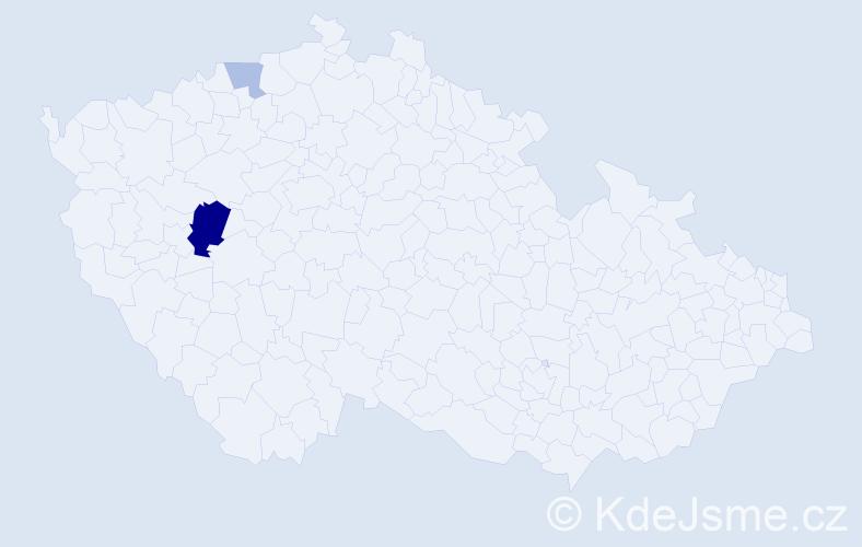Příjmení: 'Arenštein', počet výskytů 5 v celé ČR