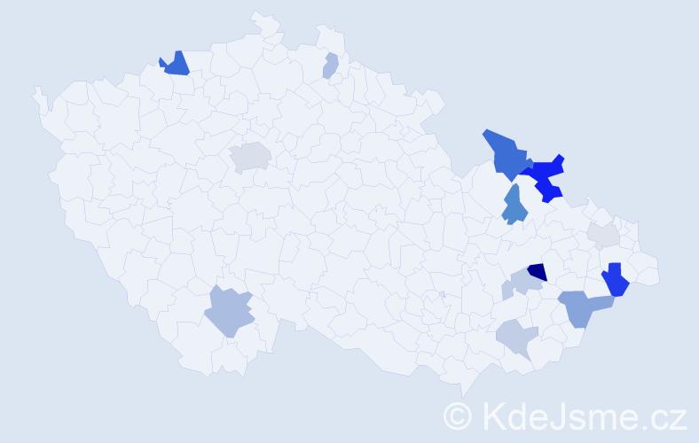 Příjmení: 'Jaš', počet výskytů 27 v celé ČR