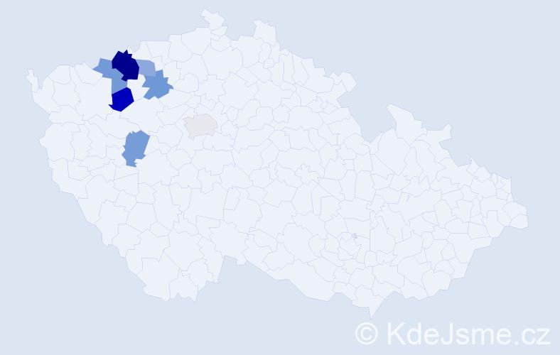 Příjmení: 'Hirnšál', počet výskytů 11 v celé ČR
