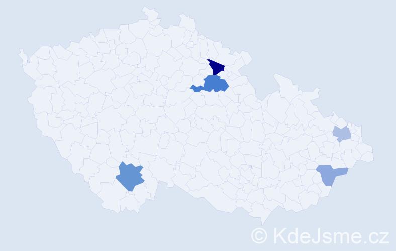 Příjmení: 'Albín', počet výskytů 12 v celé ČR