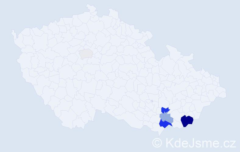 Příjmení: 'Čaňa', počet výskytů 12 v celé ČR