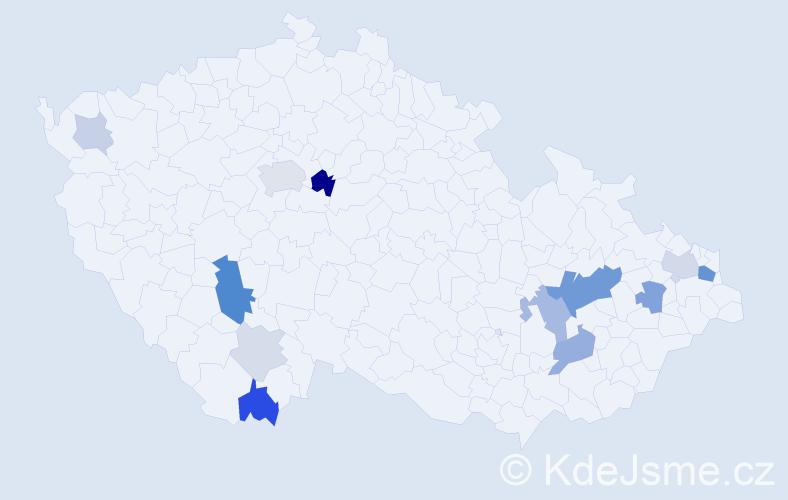 Příjmení: 'Kalamár', počet výskytů 34 v celé ČR