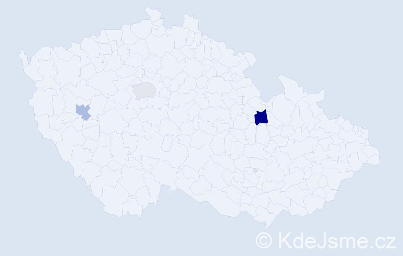 Příjmení: 'Kaupe', počet výskytů 13 v celé ČR