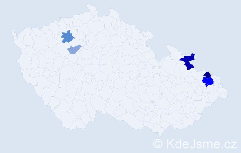 Příjmení: 'Hažík', počet výskytů 14 v celé ČR