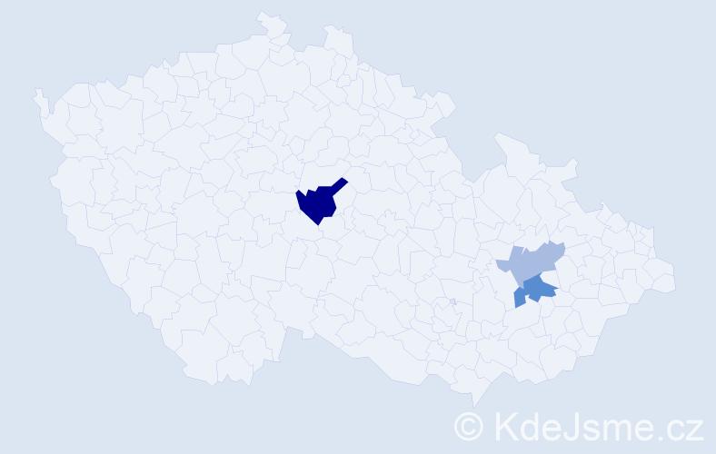 Příjmení: 'Čábelický', počet výskytů 6 v celé ČR