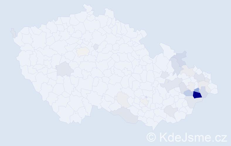 Příjmení: 'Fojtášková', počet výskytů 118 v celé ČR