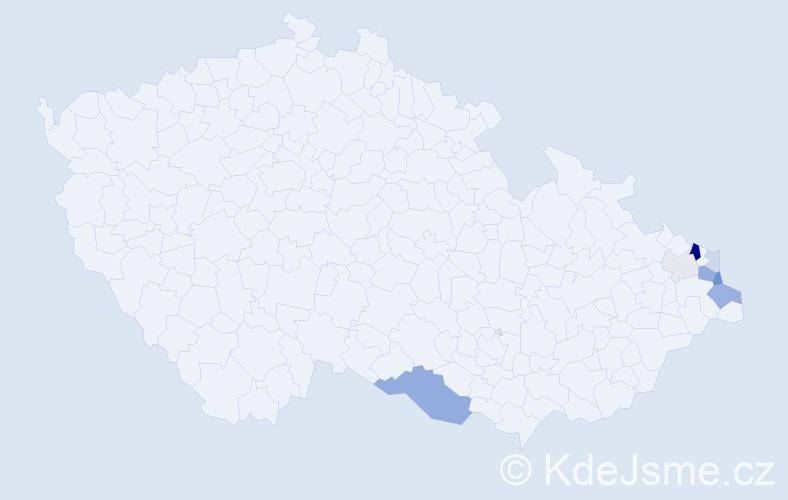 Příjmení: 'Iwanuszková', počet výskytů 18 v celé ČR