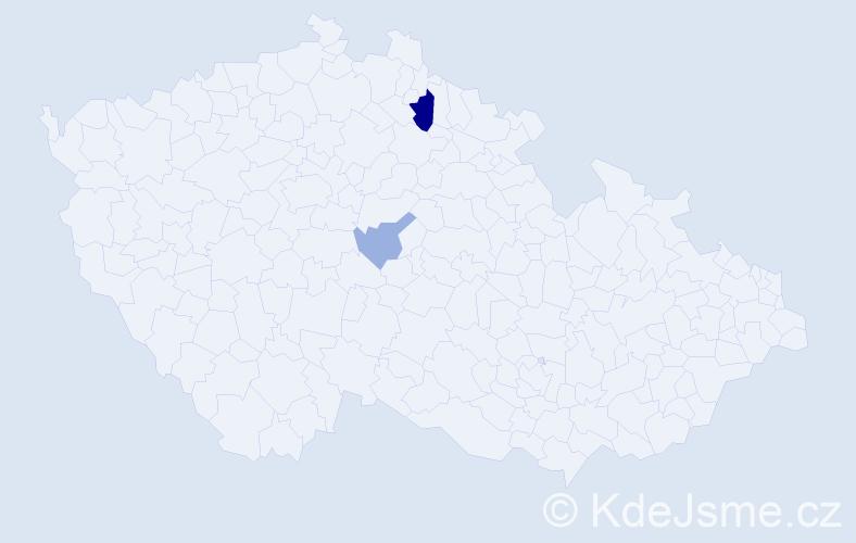 Příjmení: 'Dzirasa', počet výskytů 4 v celé ČR