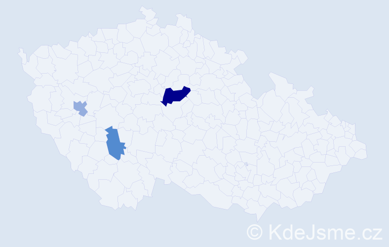 Příjmení: 'Berczik', počet výskytů 5 v celé ČR