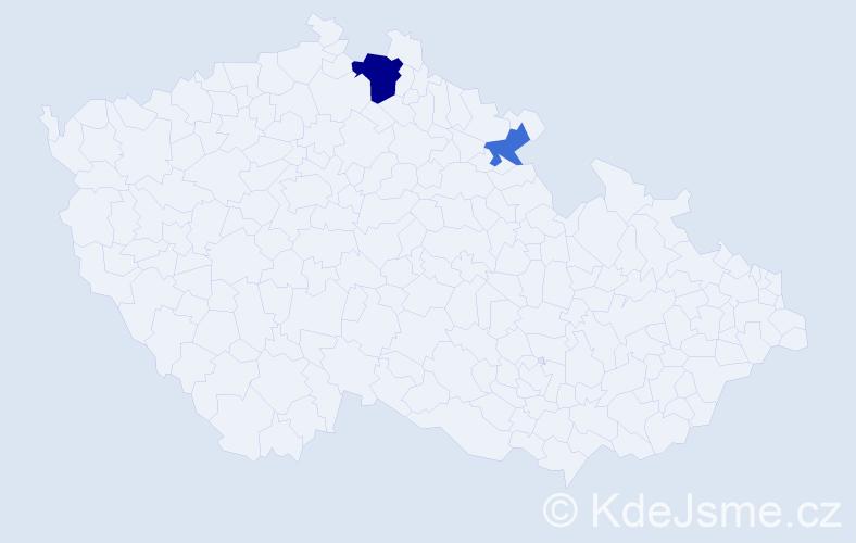 Příjmení: 'Ďuroňová', počet výskytů 4 v celé ČR