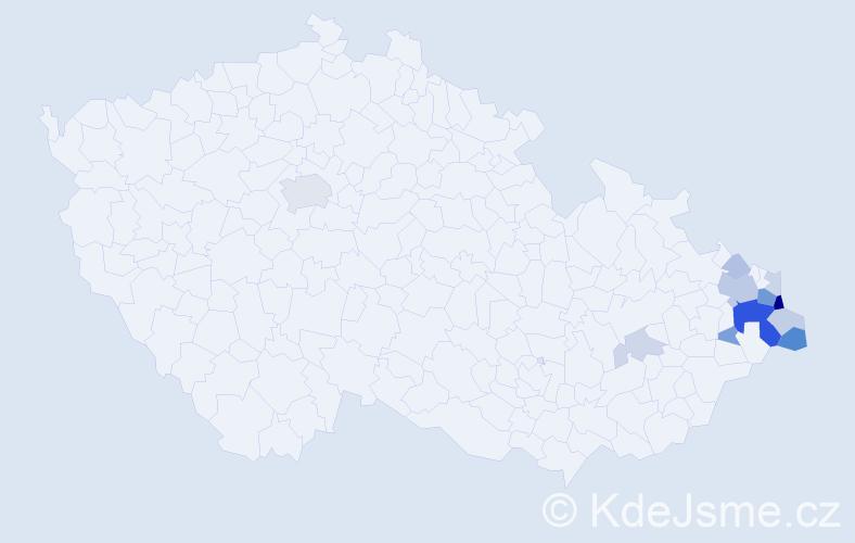 Příjmení: 'Adamek', počet výskytů 35 v celé ČR