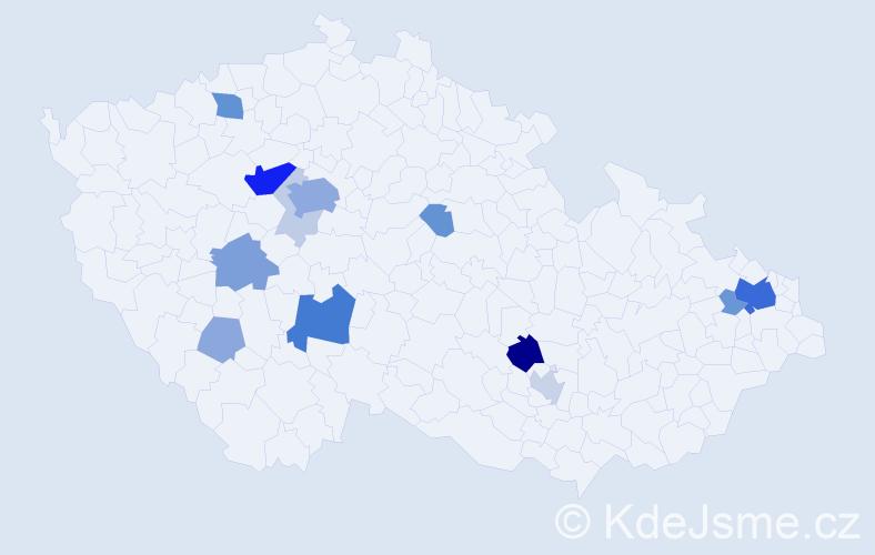 Příjmení: 'Kludská', počet výskytů 51 v celé ČR
