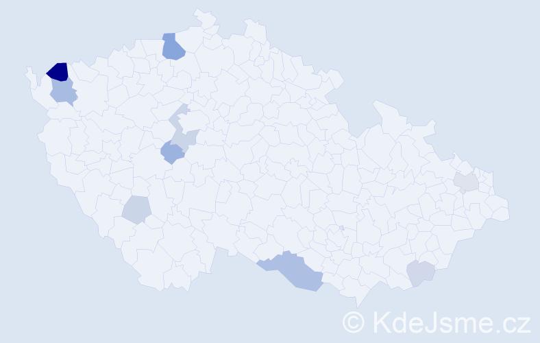 Příjmení: 'Hadžega', počet výskytů 23 v celé ČR