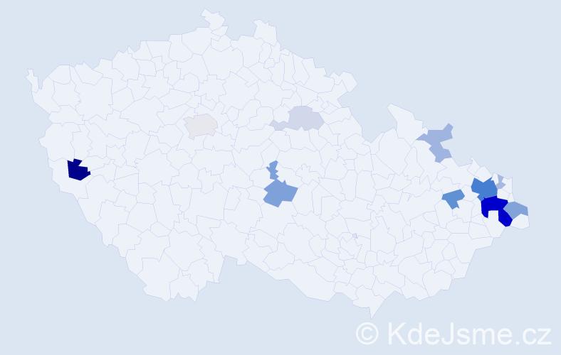 Příjmení: 'Gadlinová', počet výskytů 38 v celé ČR