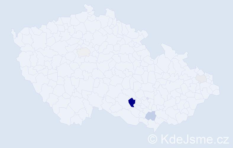 Příjmení: 'Bölcskei', počet výskytů 7 v celé ČR