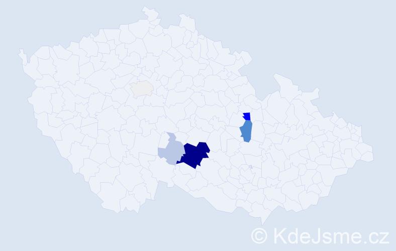 Příjmení: 'Karša', počet výskytů 24 v celé ČR