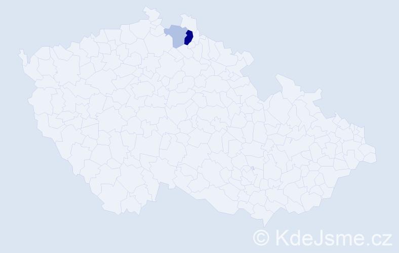 Příjmení: 'Hamatschek', počet výskytů 5 v celé ČR