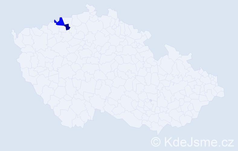Příjmení: 'Búziová', počet výskytů 5 v celé ČR