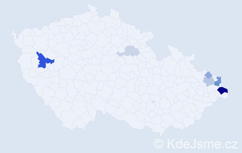 Příjmení: 'Cuberová', počet výskytů 23 v celé ČR