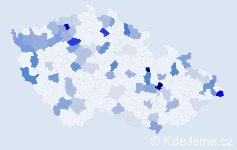 Příjmení: 'Bednár', počet výskytů 208 v celé ČR