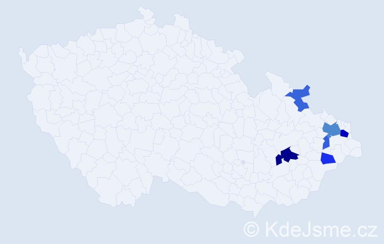 Příjmení: 'Kobaková', počet výskytů 13 v celé ČR