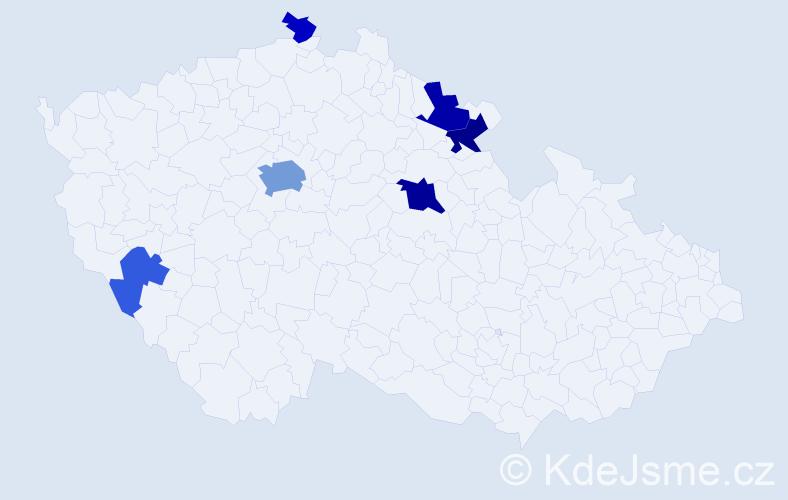 Příjmení: 'Koleta', počet výskytů 16 v celé ČR