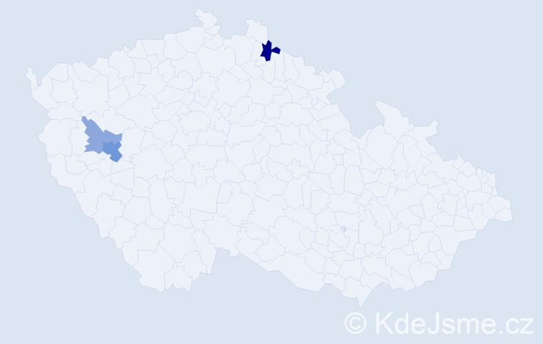 Příjmení: 'Čarda', počet výskytů 7 v celé ČR