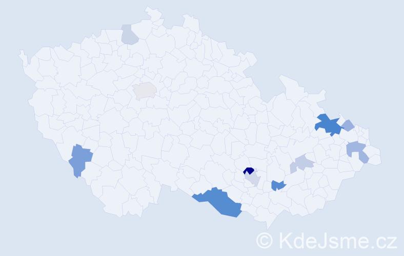 Příjmení: 'Eller', počet výskytů 25 v celé ČR