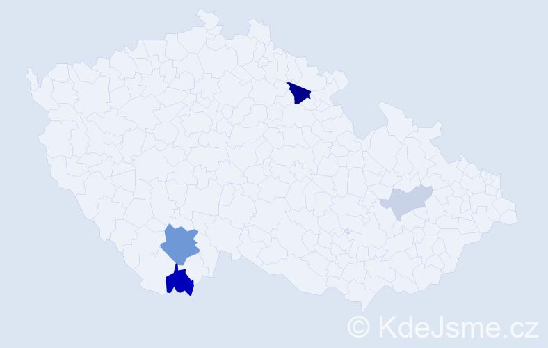 Příjmení: 'Köszegiová', počet výskytů 10 v celé ČR