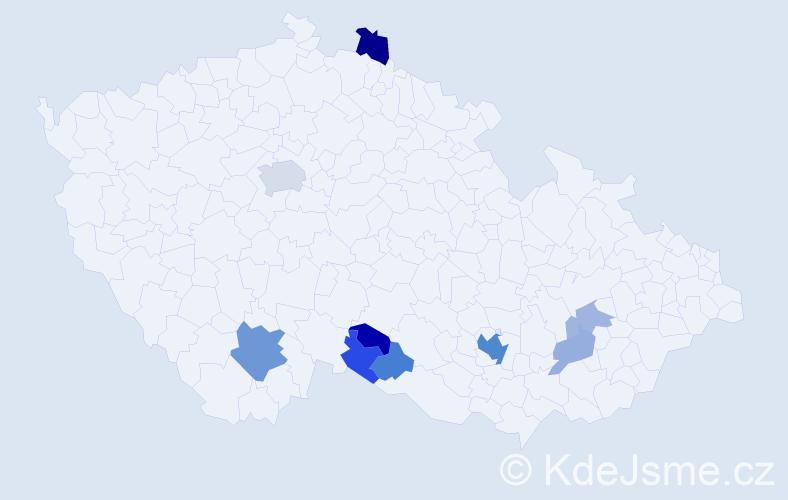Příjmení: 'Klang', počet výskytů 22 v celé ČR
