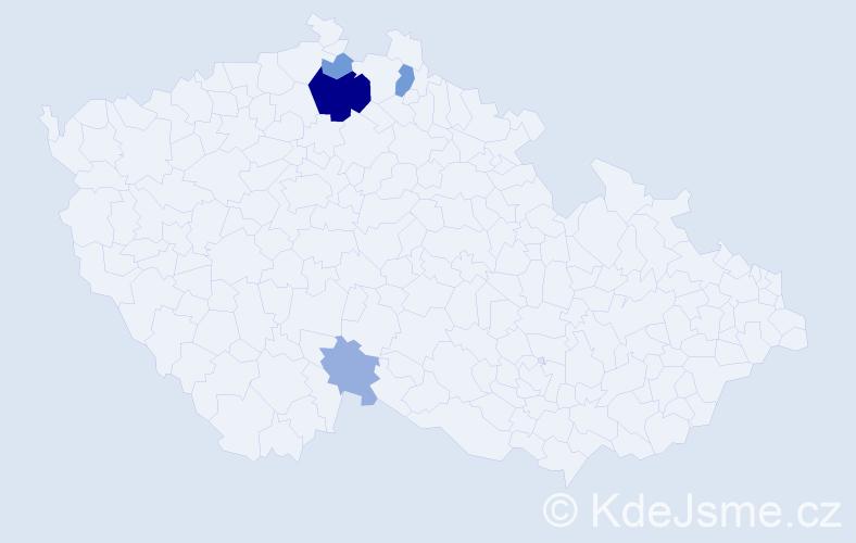 Příjmení: 'Jandáčová', počet výskytů 12 v celé ČR