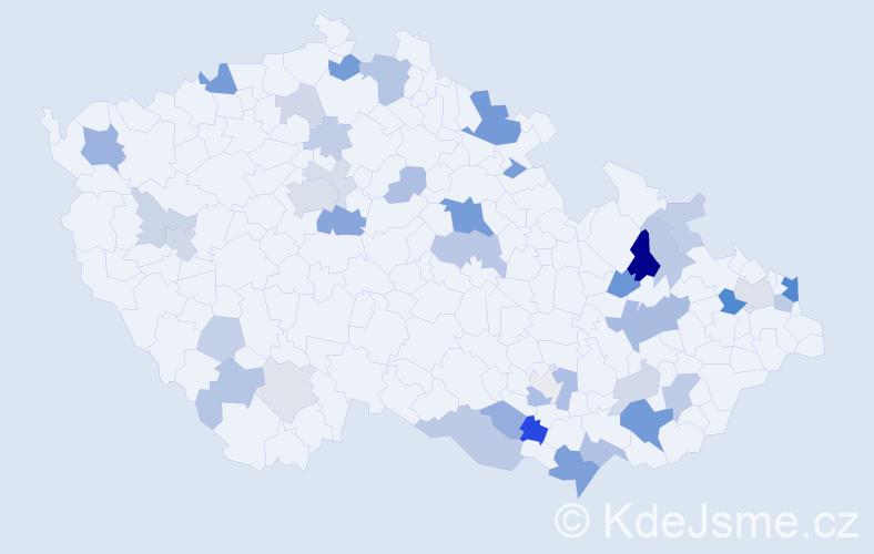 Příjmení: 'Kovačič', počet výskytů 100 v celé ČR