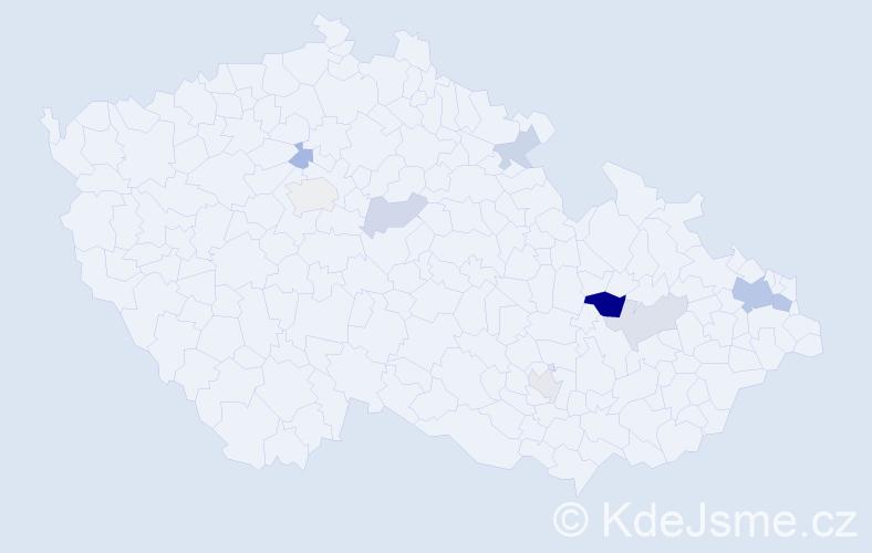 Příjmení: 'Hartel', počet výskytů 18 v celé ČR
