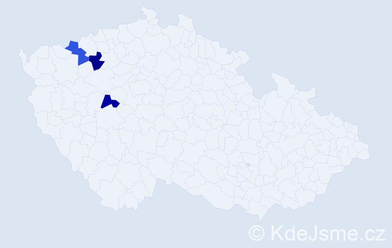 Příjmení: 'Hajduczká', počet výskytů 3 v celé ČR