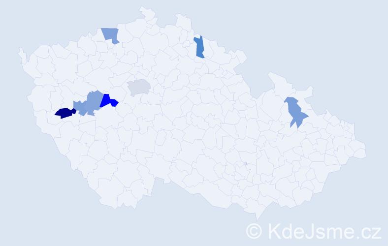 Příjmení: 'Heřboltová', počet výskytů 15 v celé ČR