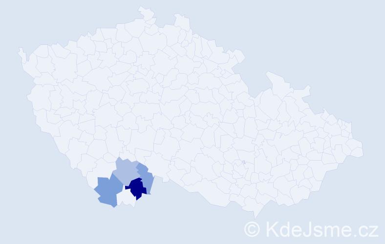 Příjmení: 'Bedlán', počet výskytů 17 v celé ČR