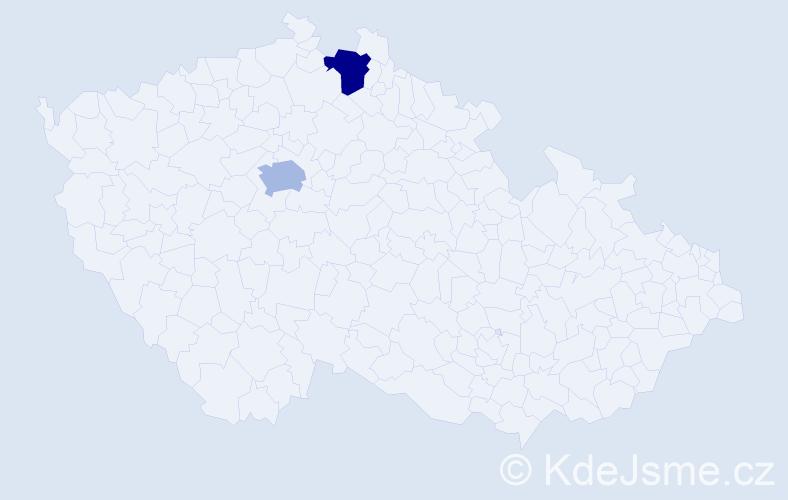 Příjmení: 'Hacsi', počet výskytů 2 v celé ČR