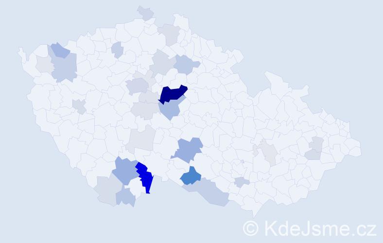 Příjmení: 'Čábelová', počet výskytů 110 v celé ČR