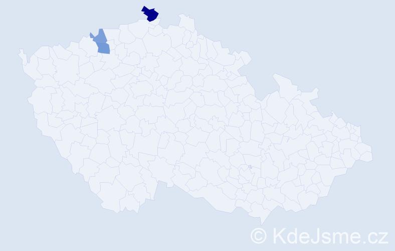 Příjmení: 'Hahnel', počet výskytů 6 v celé ČR