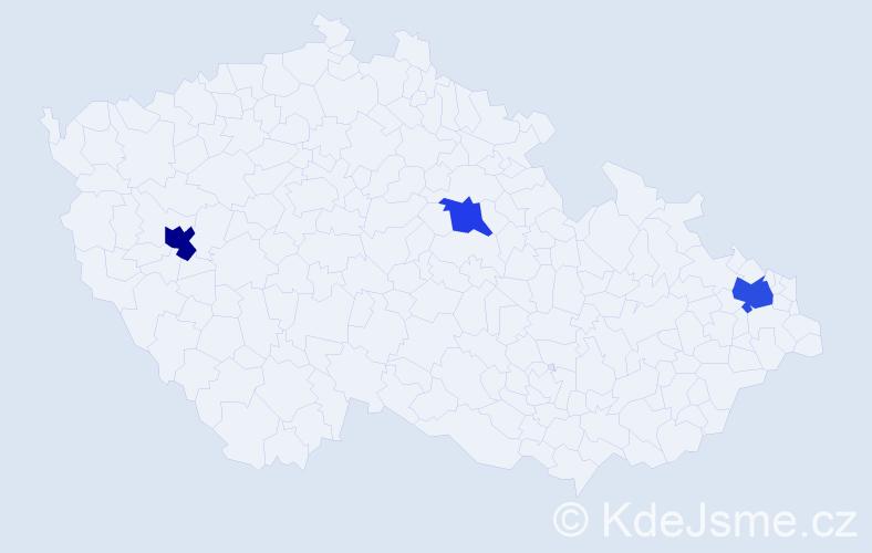 Příjmení: 'Horny', počet výskytů 5 v celé ČR