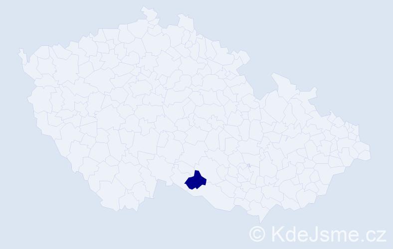 Příjmení: 'Djudja', počet výskytů 1 v celé ČR